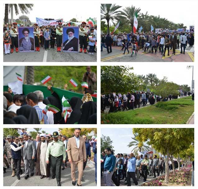 حضور گسترده مردم در راهپیمایی ۲۲ بهمن در کیش