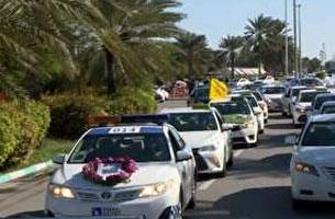 رژه خودرویی در کیش به یاد سردار سلیمانی
